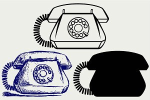 Telephon with rotary dial SVG