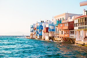 Little Venice the most popular sight in Mykonos Island in soft evening light on Greece, Cyclades