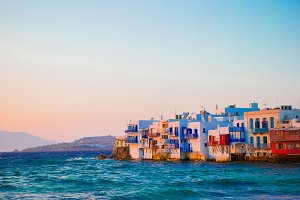 Beautiful popular sights in Mykonos Island in soft evening light on Greece, Cyclades
