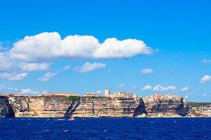 View of beautiful city of Bonifacio from the sea, Corsica