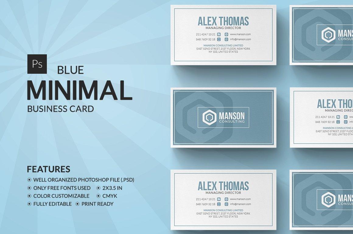 Minimal Blue Business Card ~ Business Card Templates ~ Creative Market
