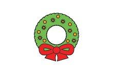 Christmas wreath flat line icon