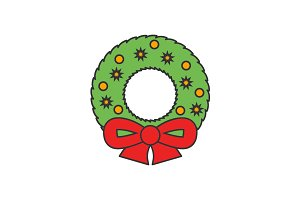 Christmas wreath flat line icon