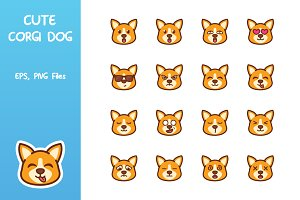 Cute Corgi Dog Emoticon
