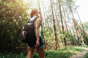 Woman hiker in the forest