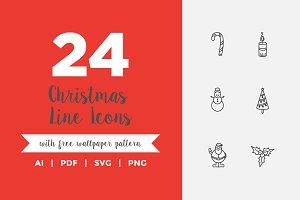 24 Christmas Line Icons
