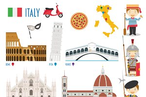 Italy Flat Icon Set Travel