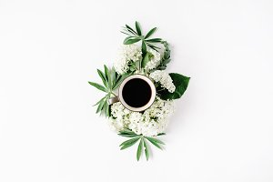 Coffee and floral composition