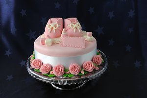 Cake with marzipan booties
