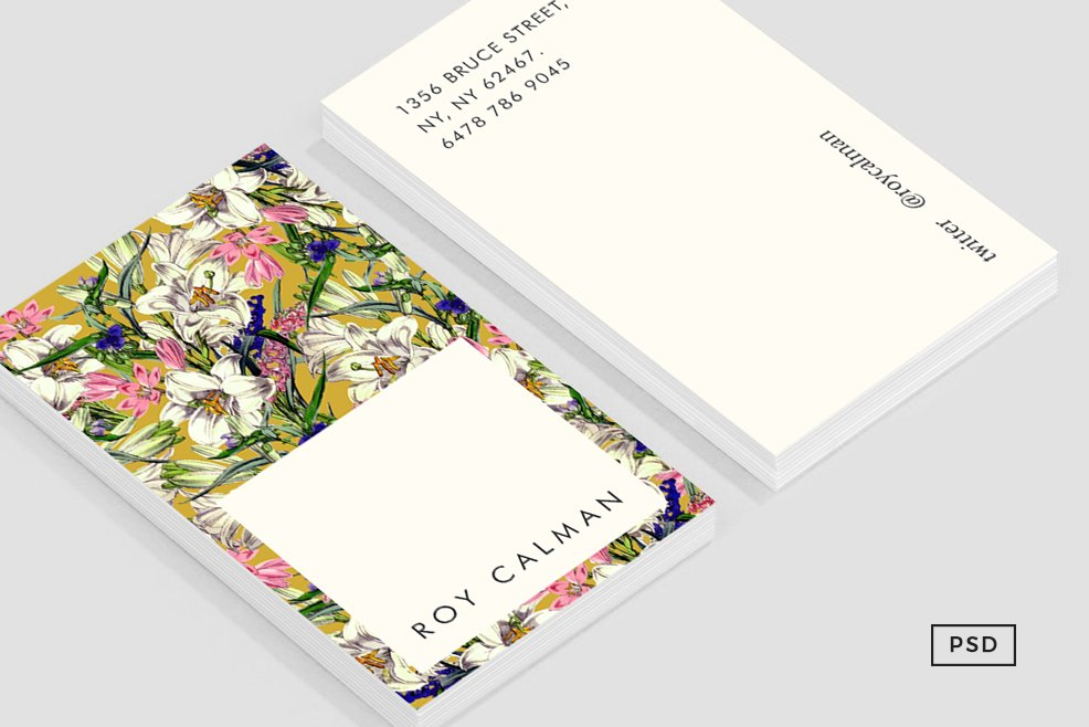 Earthy Floral Business Card Template ~ Business Card Templates ...