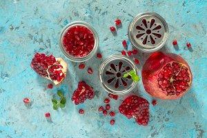 Pomegranate, mint and garnet juice