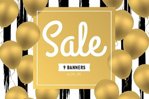 Sale. Set of 9 banners with balloons