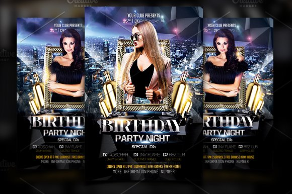 Birthday Flyer Template Flyer Templates Creative Market