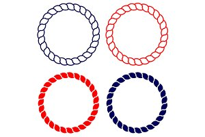 Circle sea rope frame set vector