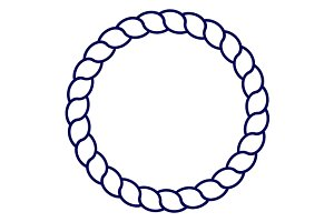 Blue circle sea rope frame vector