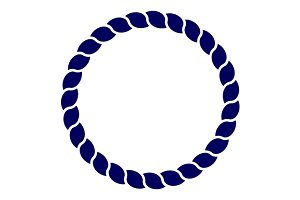 Blue circle sea rope frame vector