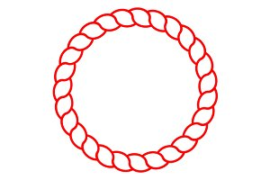 Red circle sea rope frame vector