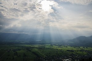 Sunrays over Green Countryside