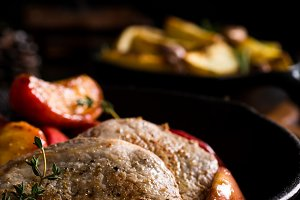 Roasted pork steak with caramelized apples