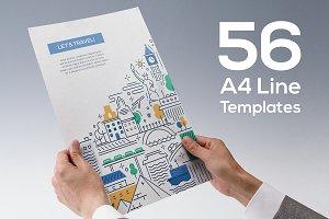 56 Line Design A4 Templates