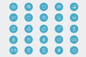 25 x Health Outline Vector Icons