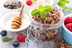 Homemade chocolate granola ingredients
