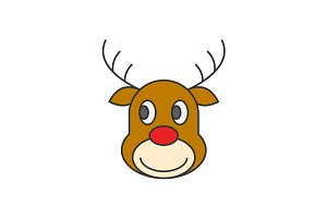 Reindeer Christmas flat line icon