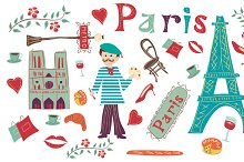 Paris vectors set