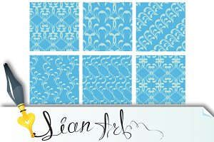 Set of fabric textures in light blue