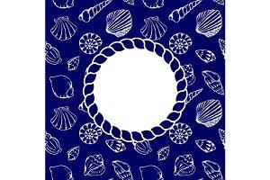 Sea shells rope circle frame vector