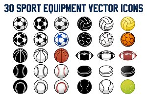 30 Sport Balls vector Icons Set