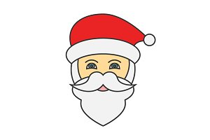 Santa Claus face flat line icon