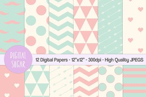 Pink & Green Digital Papers, Hipster