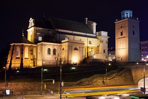 St Anne Church at Night in Warsaw