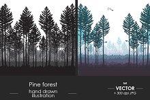 Pine forest vector illustration