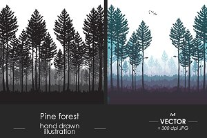 Pine forest vector illustration