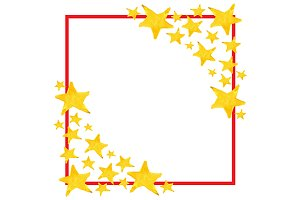 Watercolor XMas star symbol frame