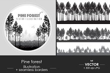 Pine forest illustration + borders