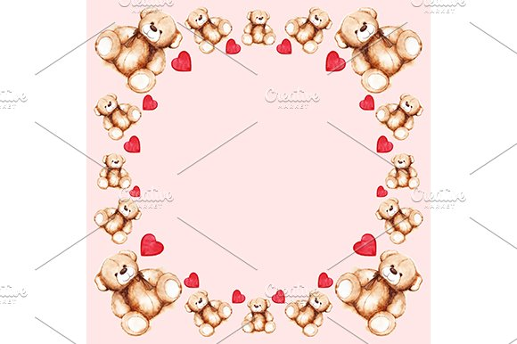 Cartoon lovely Teddy Bear toy frame ~ Illustrations ~ Creative Market