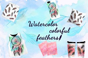 Watercolor colorful feathers.