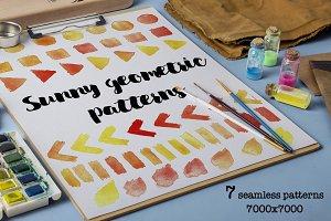 Sunny geometric - watercolor pattern