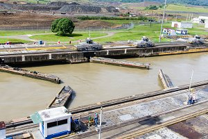 Gates and basin of Pedro Miguel Lock