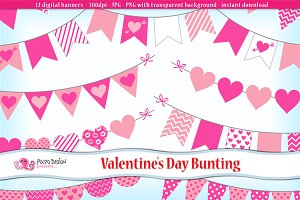 Valentine's day Bunting clipart