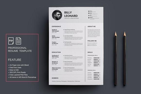 Resume Cv Creative Photoshop Templates Creative Market