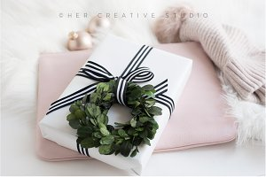 Holiday Image Gift with Stripes