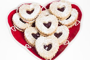 Plate of heart shaped cookies