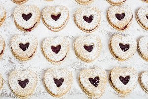 Heart shaped filled cookies