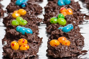 Chocolate candy with jelly beans