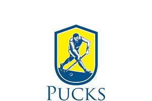 Pucks Hockey Team Logo