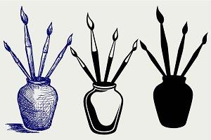 Brushes in vase SVG